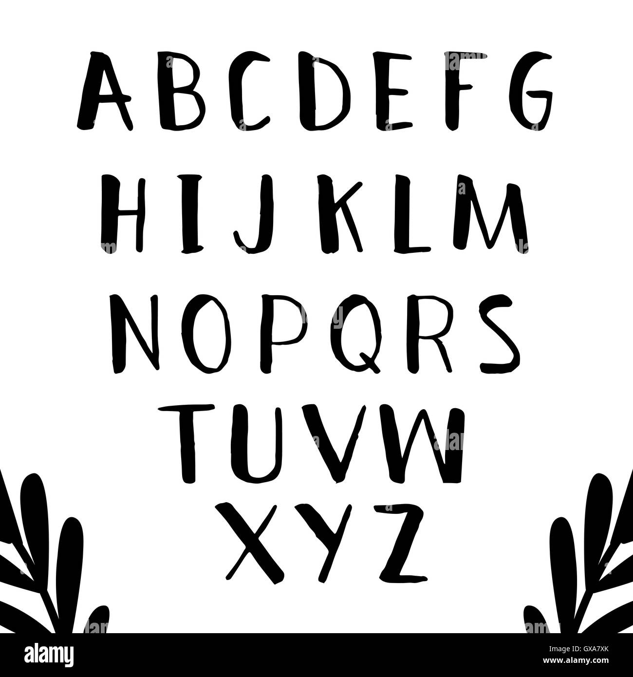 hand drawn alphabet set with cute letters original font brushed