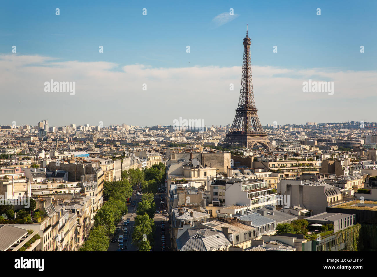 The Paris skyline and Eiffel Tower, France - Stock Image