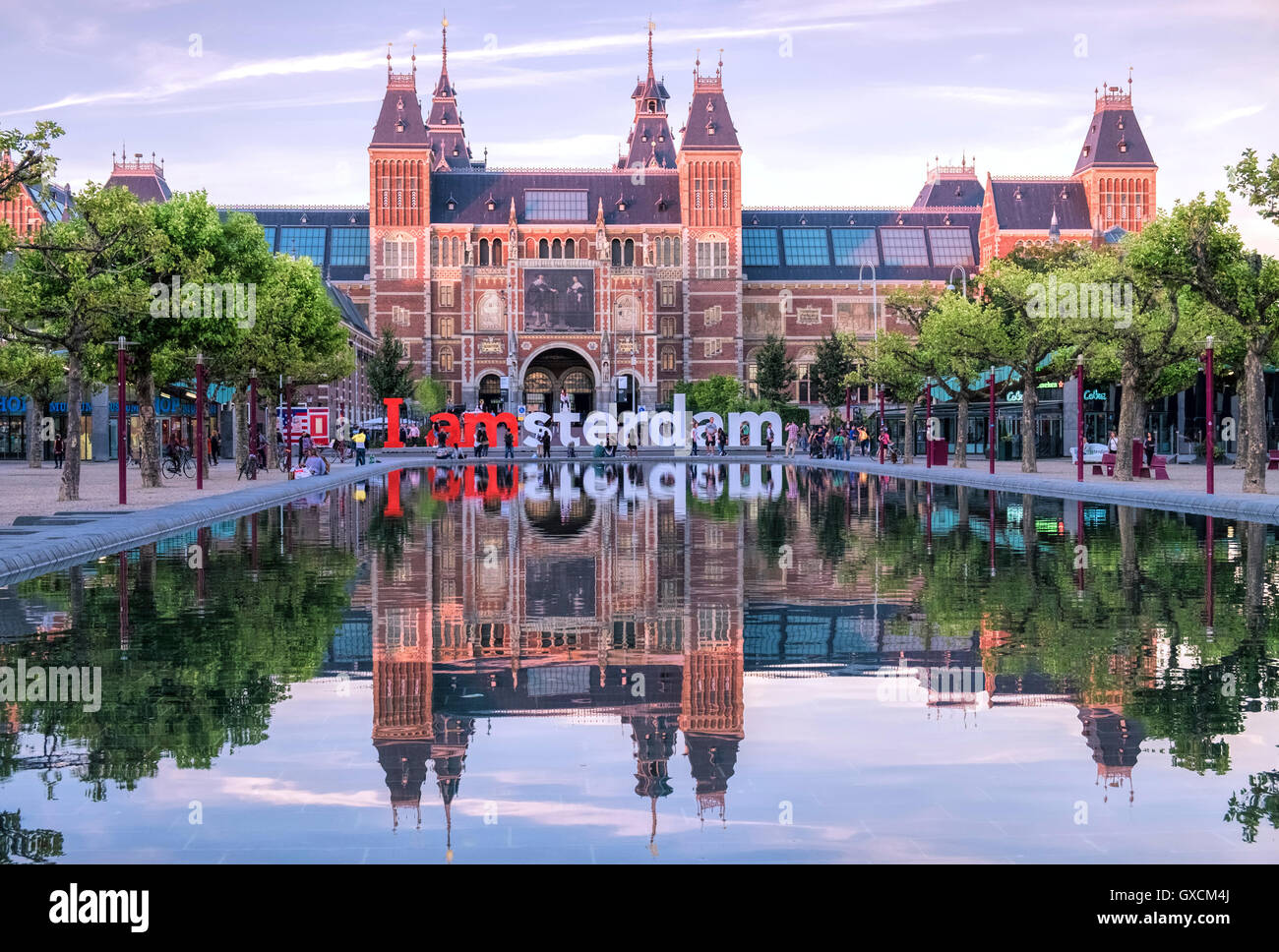 Rijks Museum building at 'I Am Amsterdam' in early evening light, Museum Quarter, Amsterdam, Netherlands Stock Photo