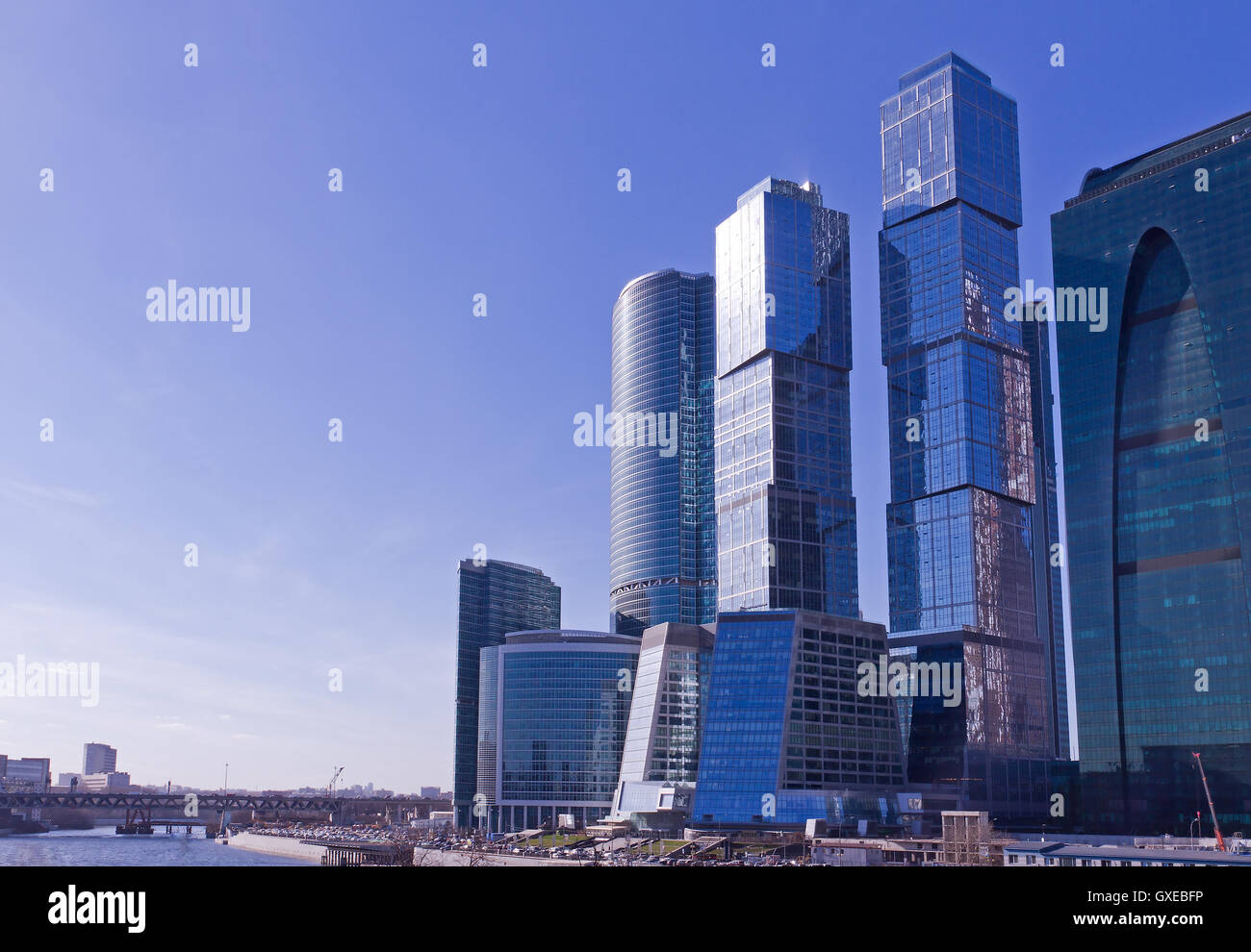Contemporary Russian Architecture Concept Modern Futuristic Skyscrapers And City Office Buildings In Moscow Russia