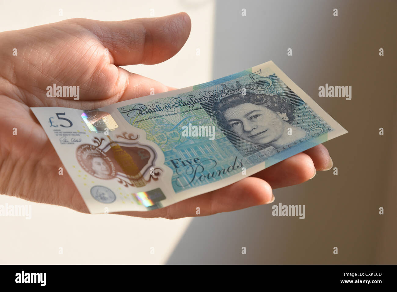 The New Polymer UK Five Pound Note Stock Photo