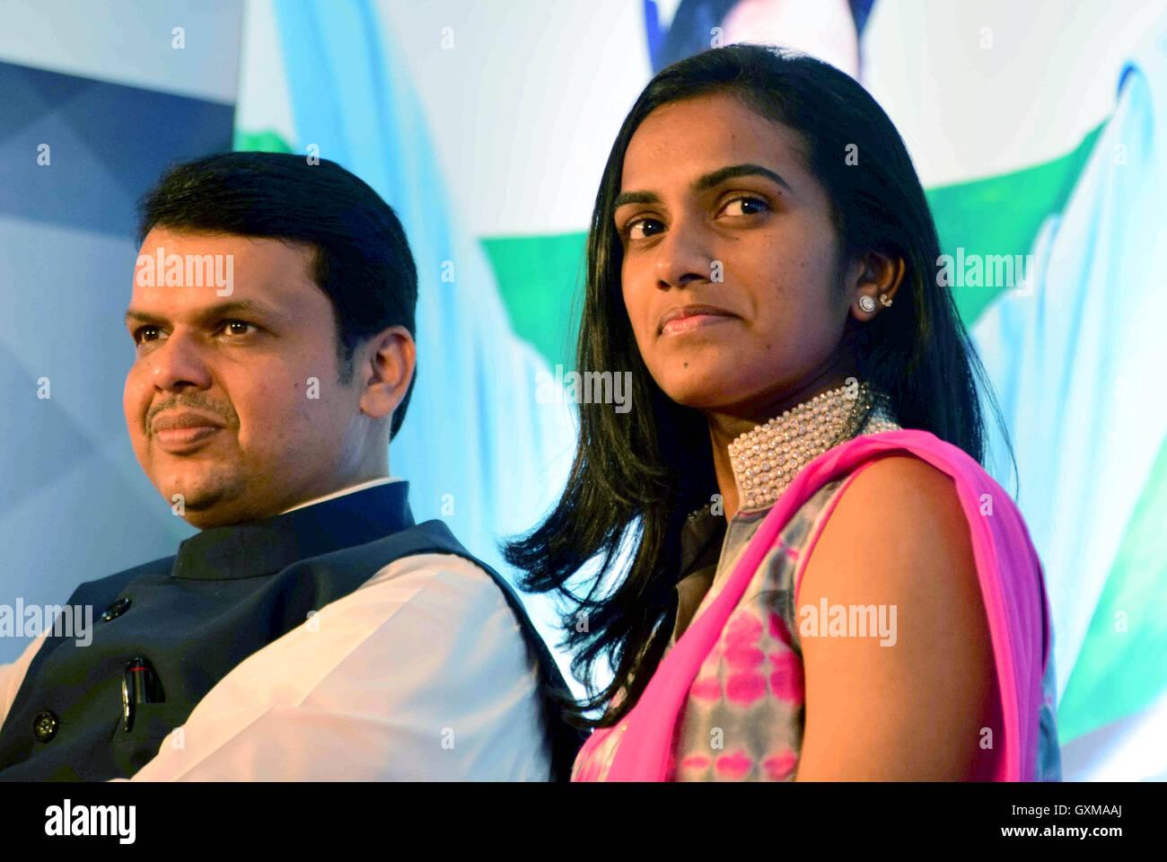 Indian badminton player Rio Olympics silver medallist P V Sindhu Chief Minister Devendra Fadnavis felicitation Mumbai - Stock Image