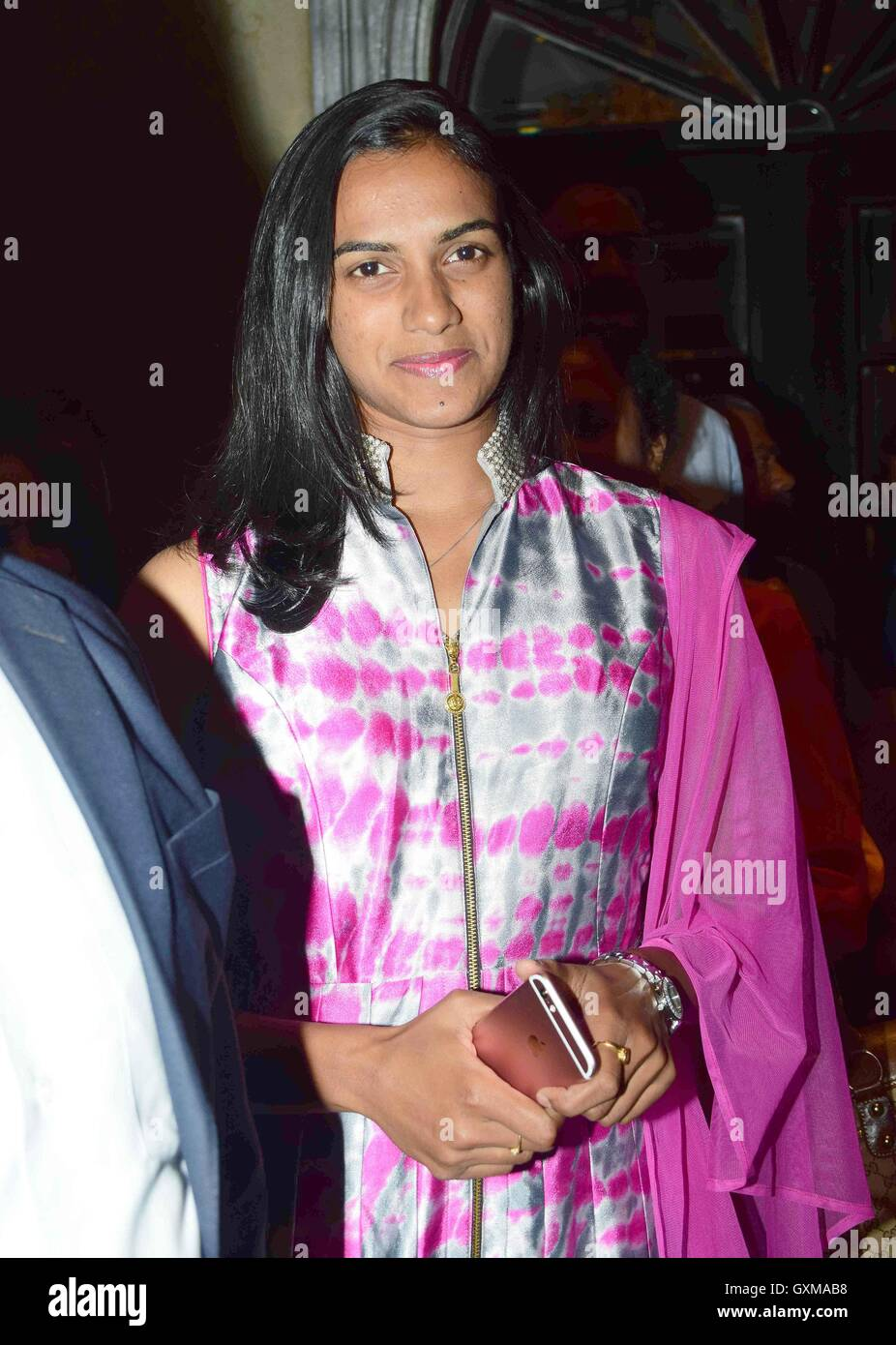 Indian badminton player and Rio Olympics silver medallist P V Sindhu during her felicitation, in Mumbai - Stock Image