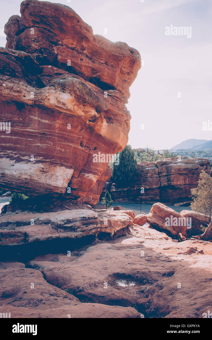 Leaning Rock at Garden of the Gods - Stock Image
