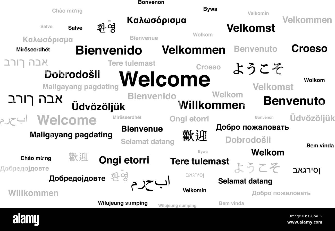 Welcome Phrase In Different Languages Of The World Stock Vector Art