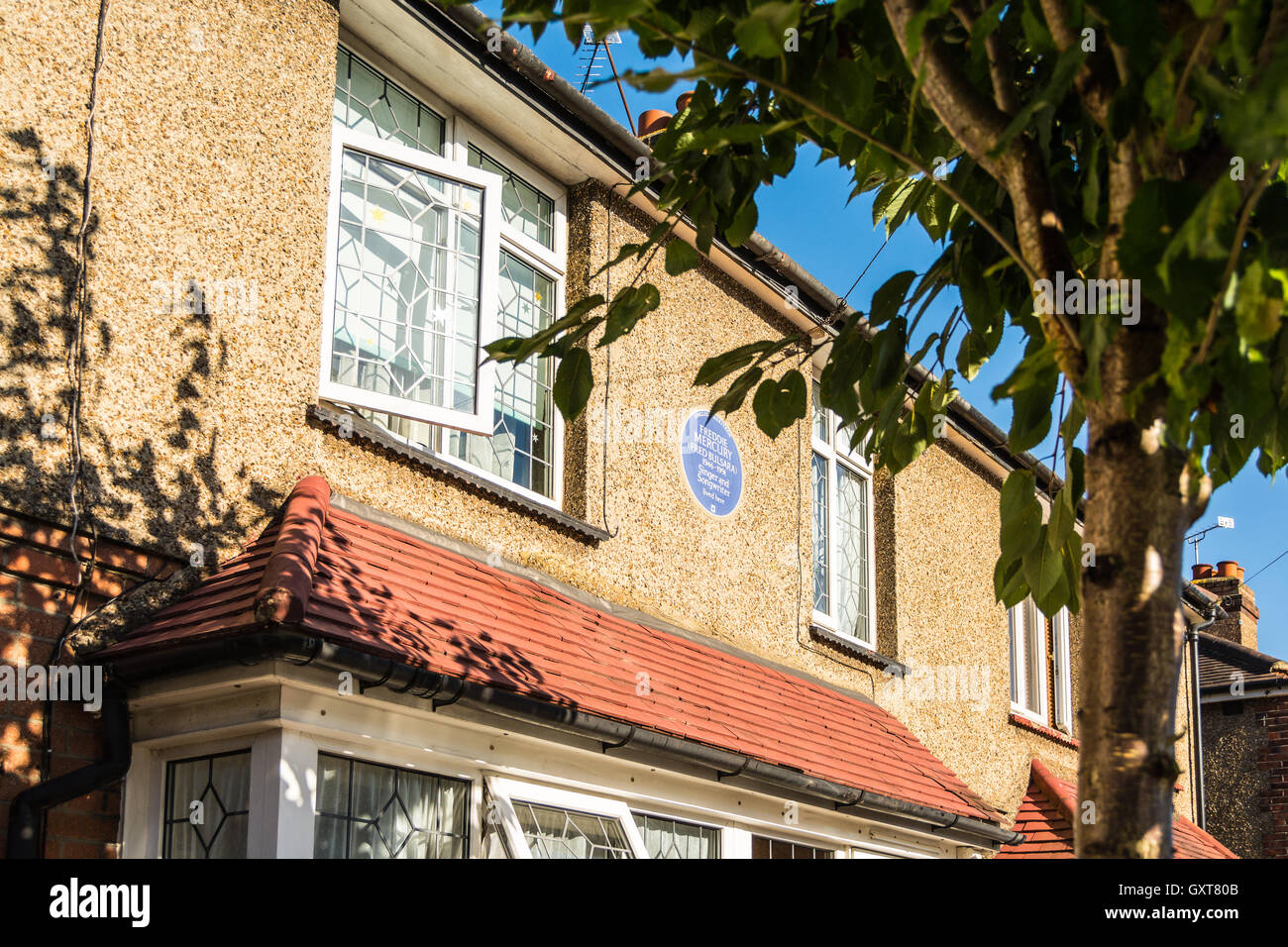 Site of Blue Plaque outside Freddie Mercury's former house and home on Gladstone Road, Feltham, Middlesex, London, Stock Photo