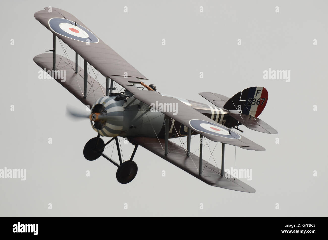Sopwith Snipe at Stow Maries. First World War, World War One biplane fighter plane Stock Photo
