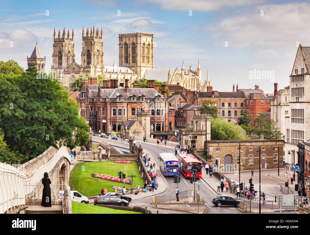 York City Centre, Minster and Wall, North Yorkshire, England, UK Stock Photo