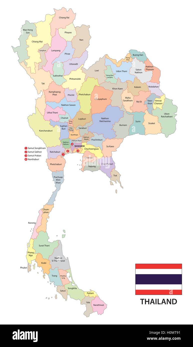 administrative vector map of the kingdom of thailand with flag Stock ...