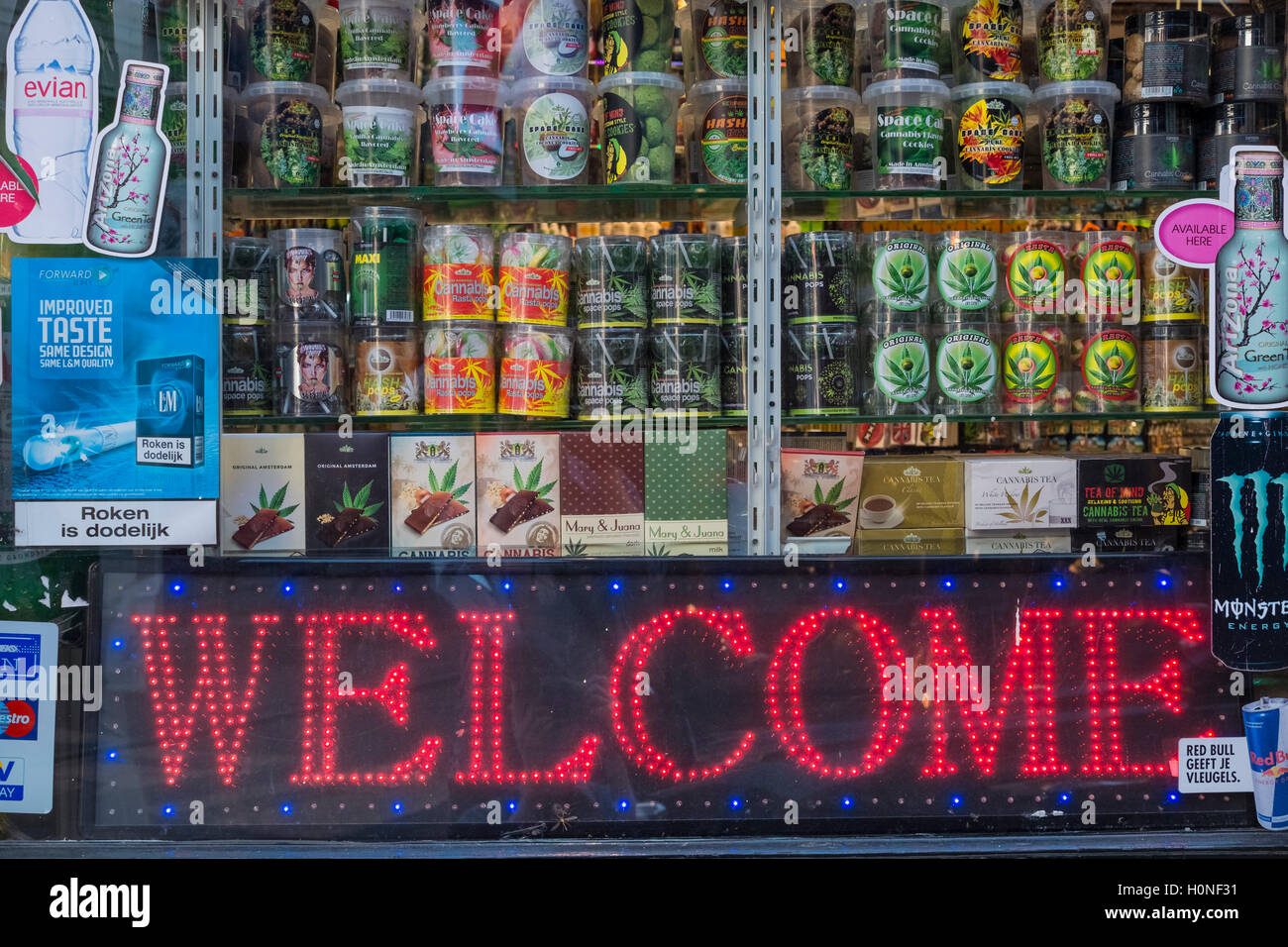 Cannabis products displayed in a retail store window, Amsterdam, Netherlands Stock Photo