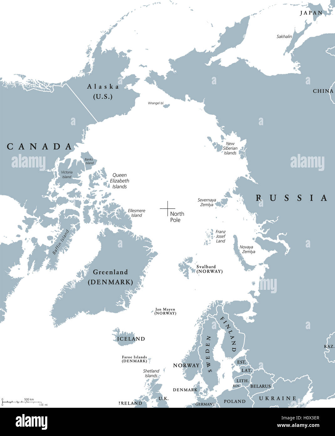 Arctic region countries and north pole political map with national arctic region countries and north pole political map with national borders and country names arctic ocean without sea ice publicscrutiny Image collections