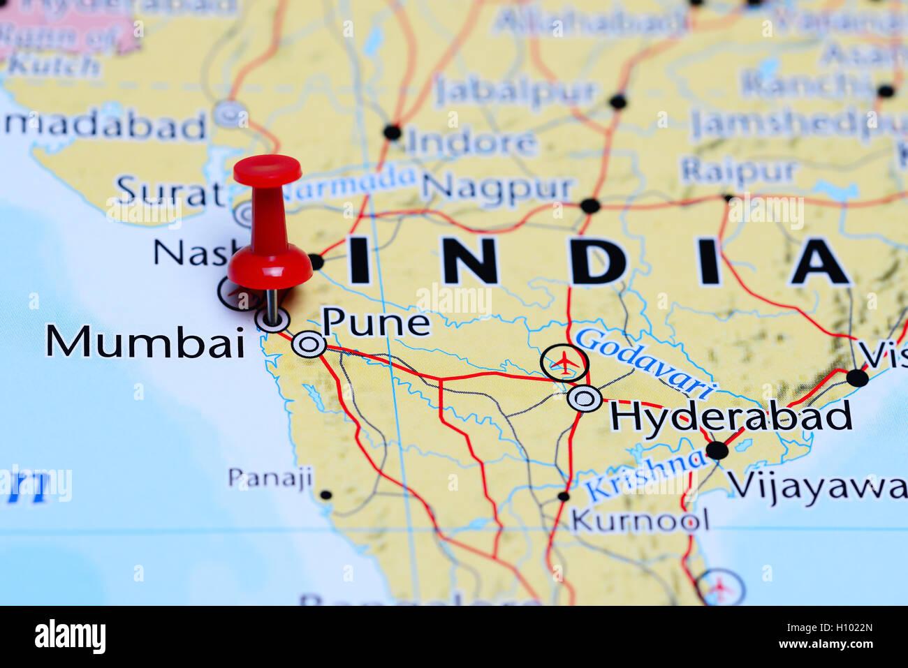 Mumbai pinned on a map of India Stock Photo 121088877 Alamy