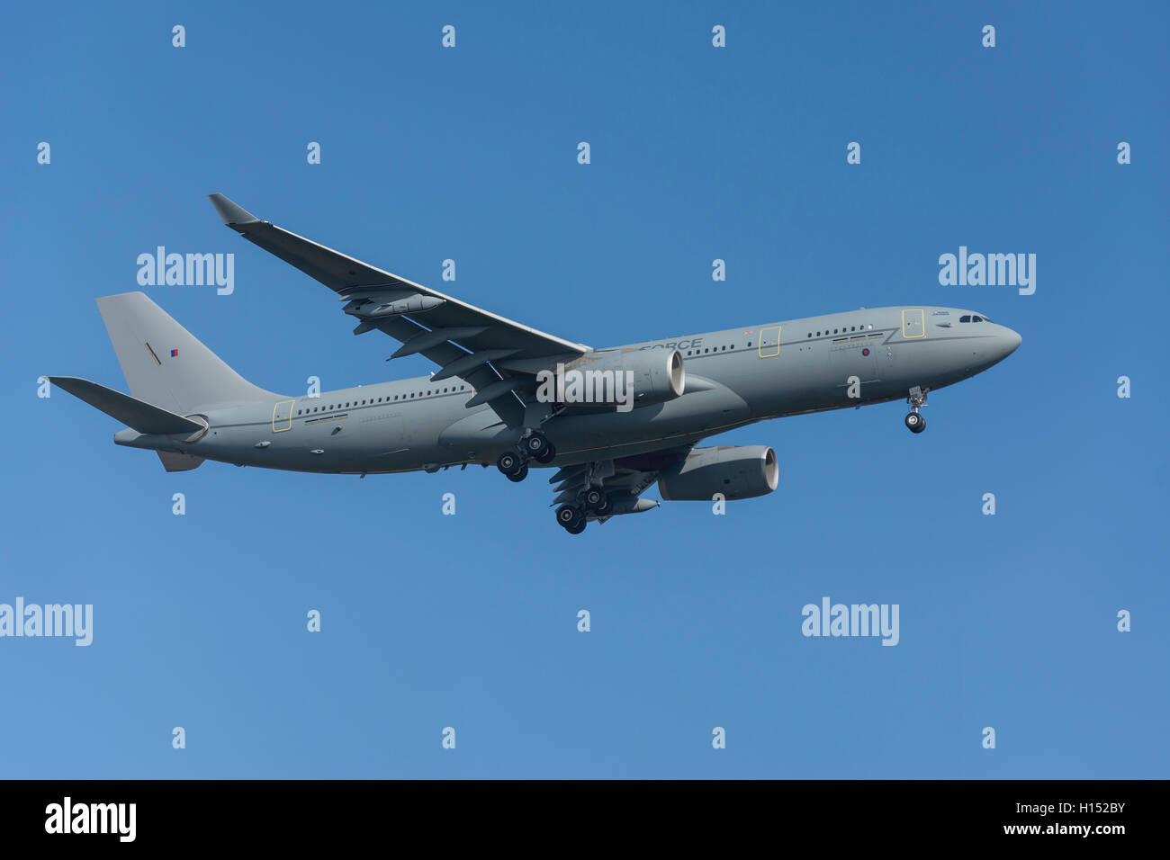 Royal Airforce Airbus KC2 Voyager aircraft landing at Heathrow Airport, Greater London, England, United Kingdom - Stock Image