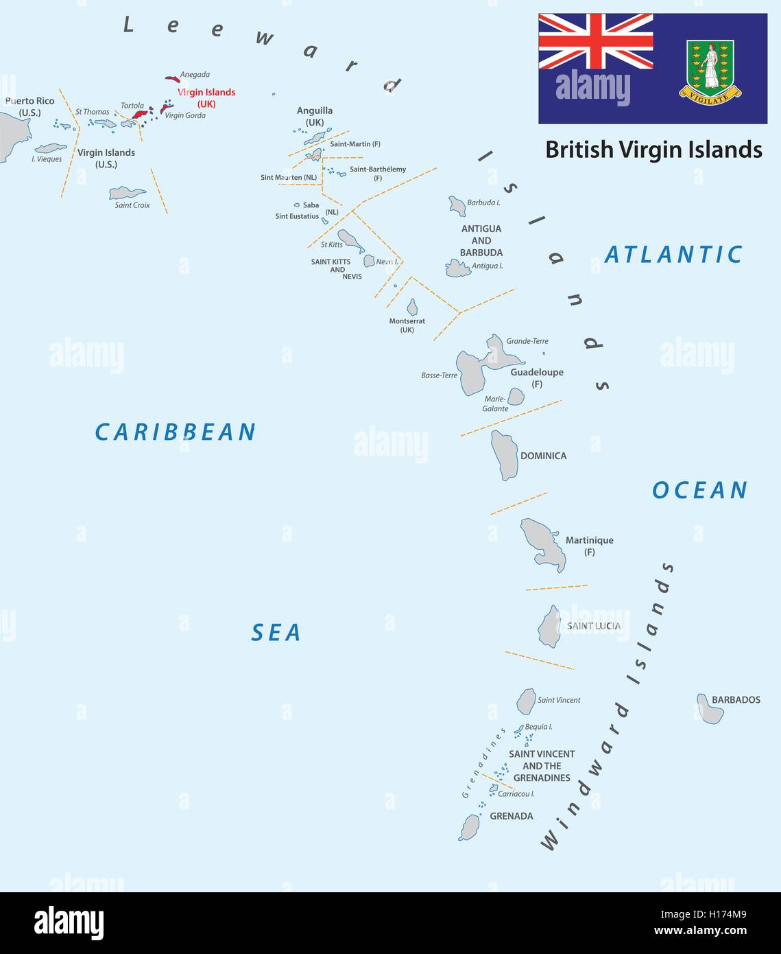 lesser antilles outline map with british virgin islands Stock Vector ...