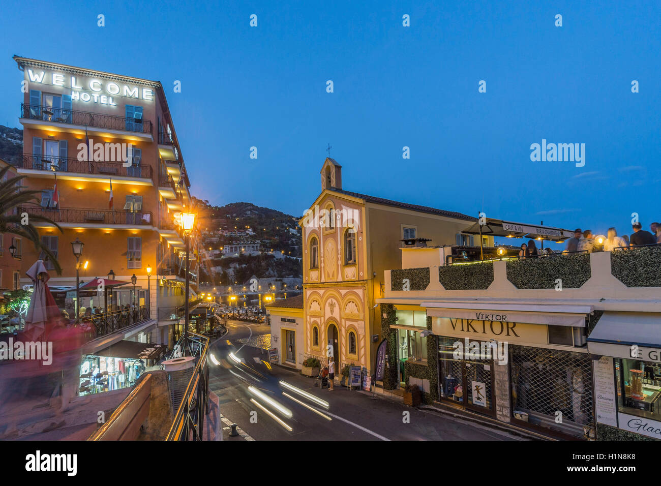 Villefranche sur mer, Welcome Hotel, Jean Cocteau chapel,  Cote d Azur, South of France Stock Photo