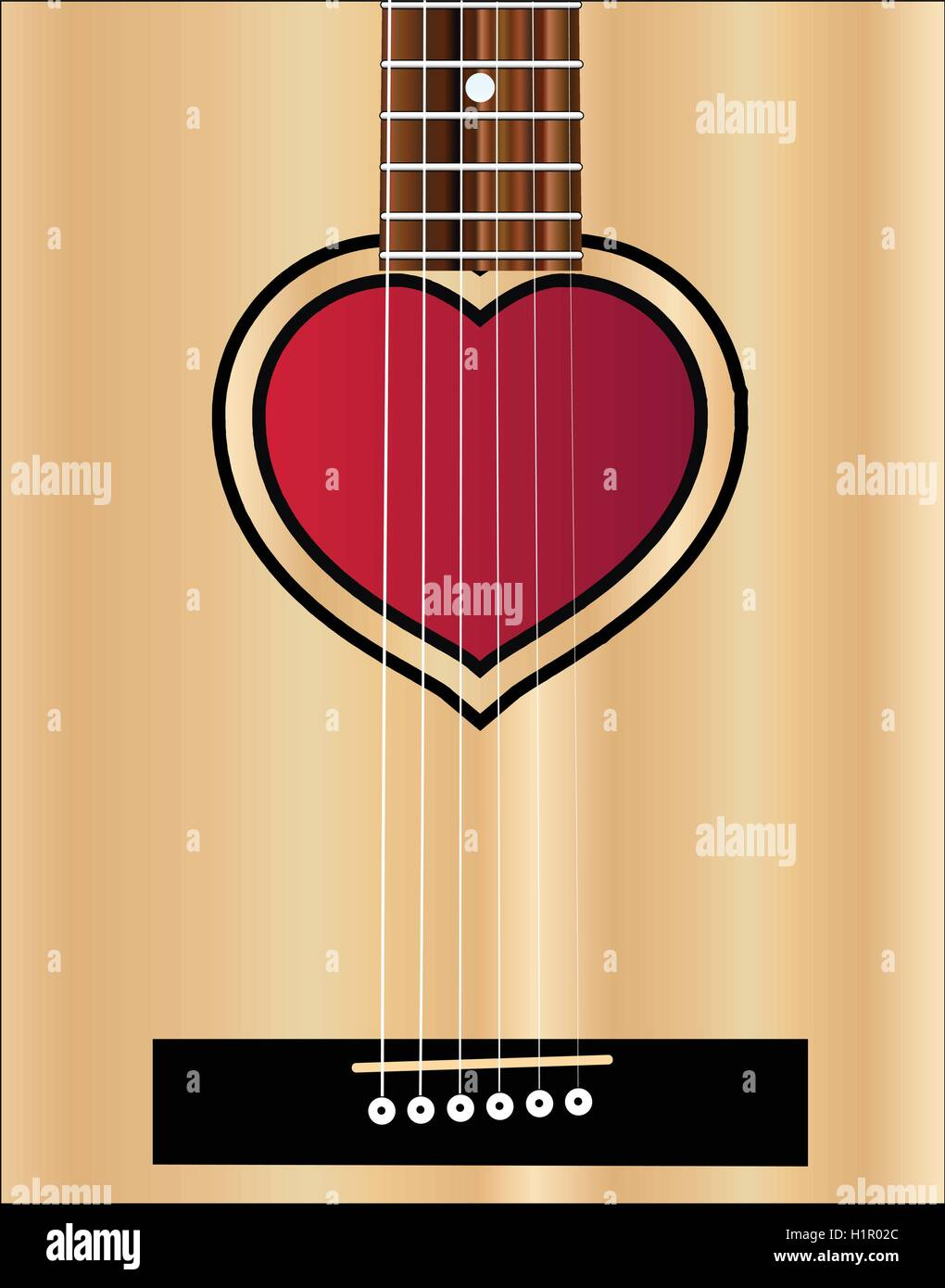 An Acoustic Guitar Sound Hole In The Shape Of A Lovers Heart Stock
