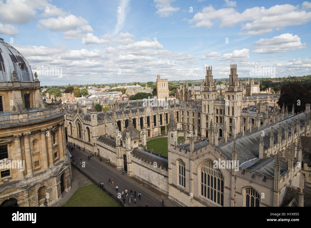 Oxford University aerial view - Stock Image