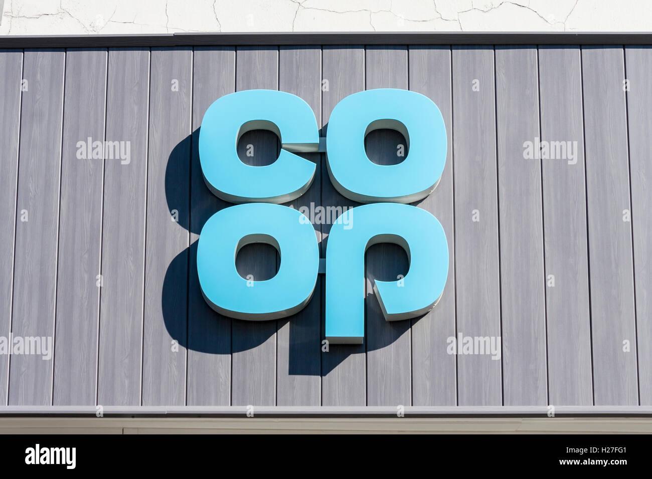 New Co-operative logo above store following retro 1960s rebrand in 2016. Stock Photo