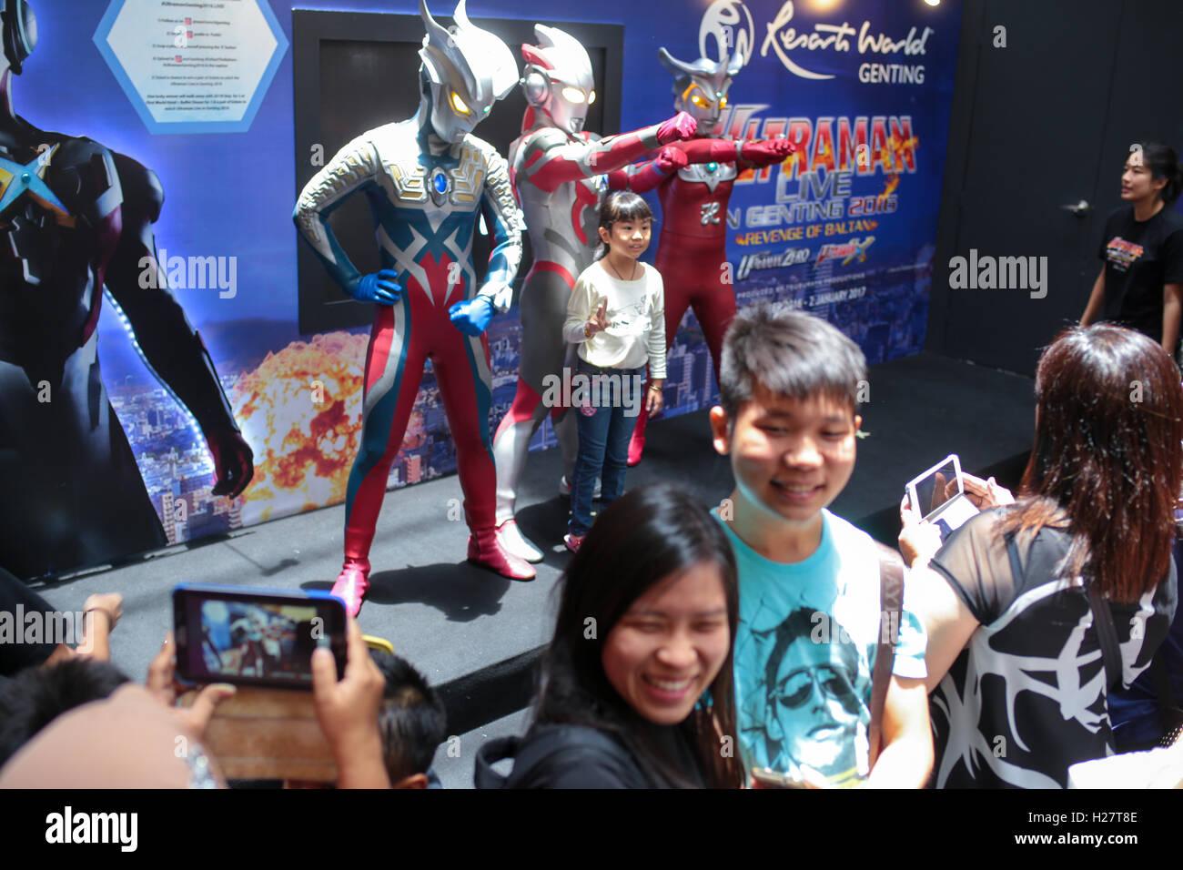 Family Taking Photos At Ultraman Meet And Greet Session At Toyko