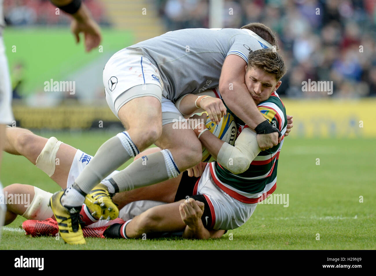 Leicester Tigers vs Bath Rugby at Welford Road, 25/09/16. - Stock Image