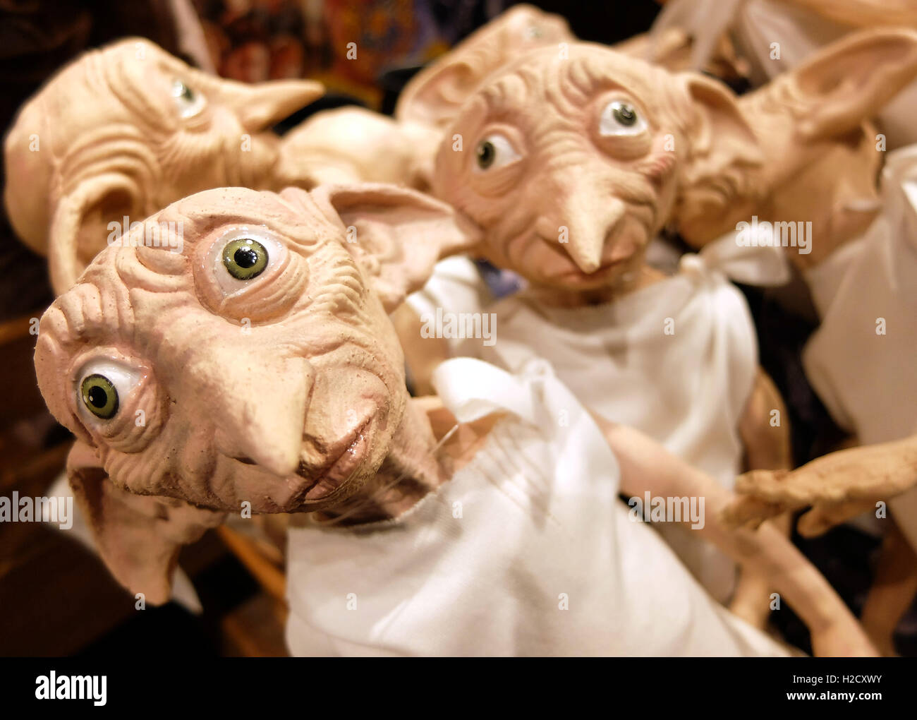 The Making of Harry Potter Warner Bros studio Tour, London. Dobby dolls in gift shop - Stock Image
