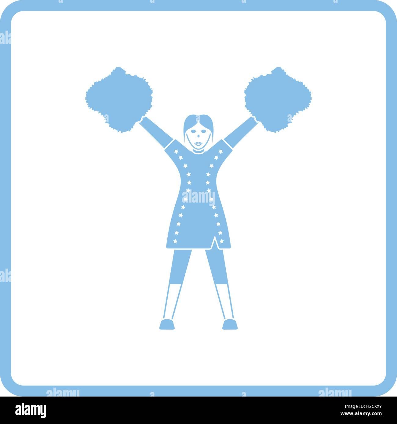 American football cheerleader girl icon. Blue frame design. Vector ...