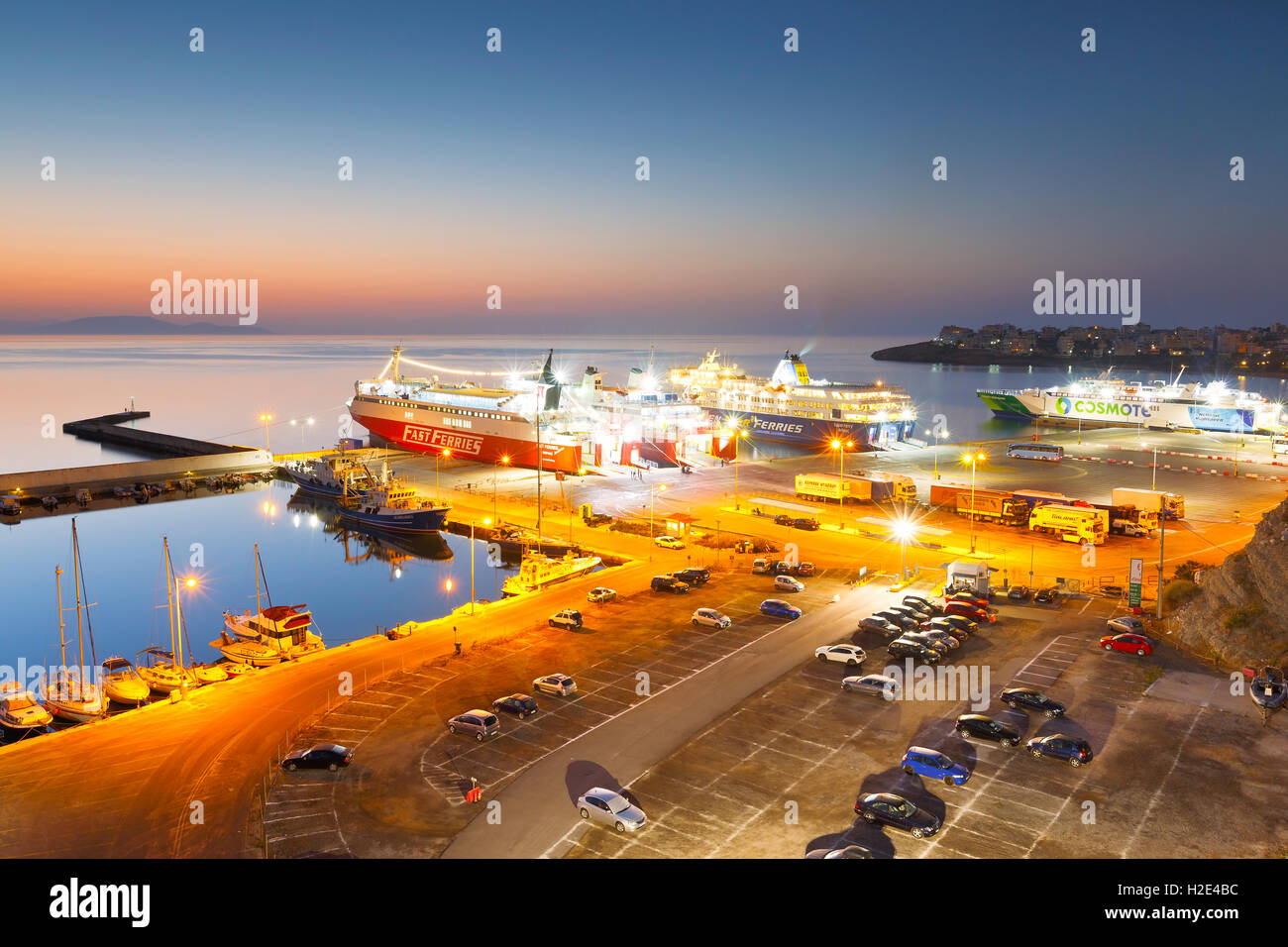 Ferries of different carriers in passenger port of Rafina. - Stock Image
