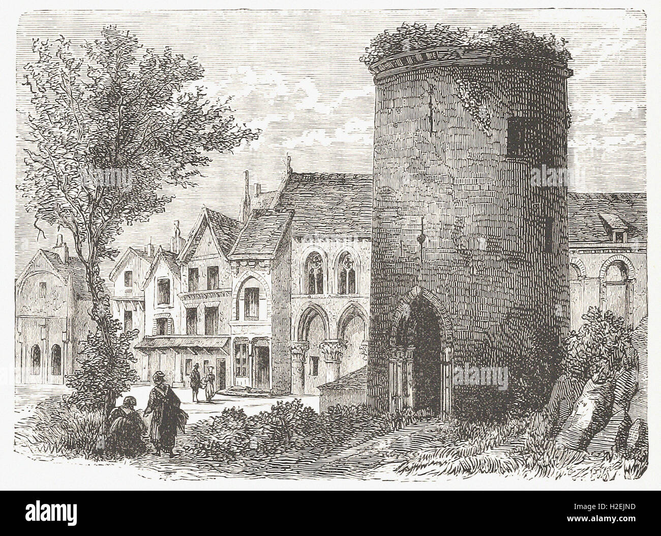 THE TOWER OF LOUIS D' OUTREMER AT LAON (DESTROYED IN 1831). - from 'Cassell's Illustrated Universal - Stock Image
