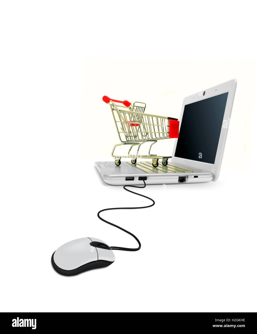 Computer Laptop With Mouse And Shopping Cart Stock Photo 122068506 Diagram