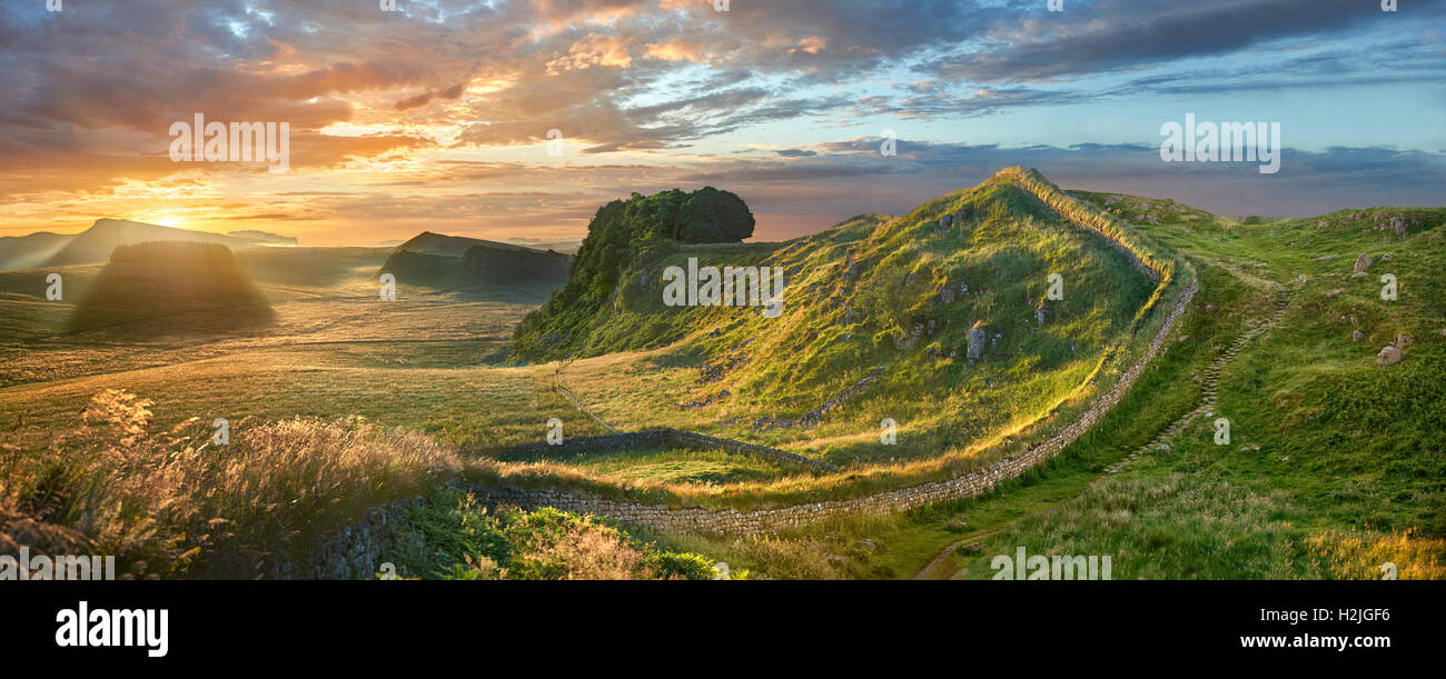 A Hadrians Wall milecastle fort near Houseteads Roman Fort, Vercovicium, A UNESCO World Heritage Site, Northumberland, Stock Photo