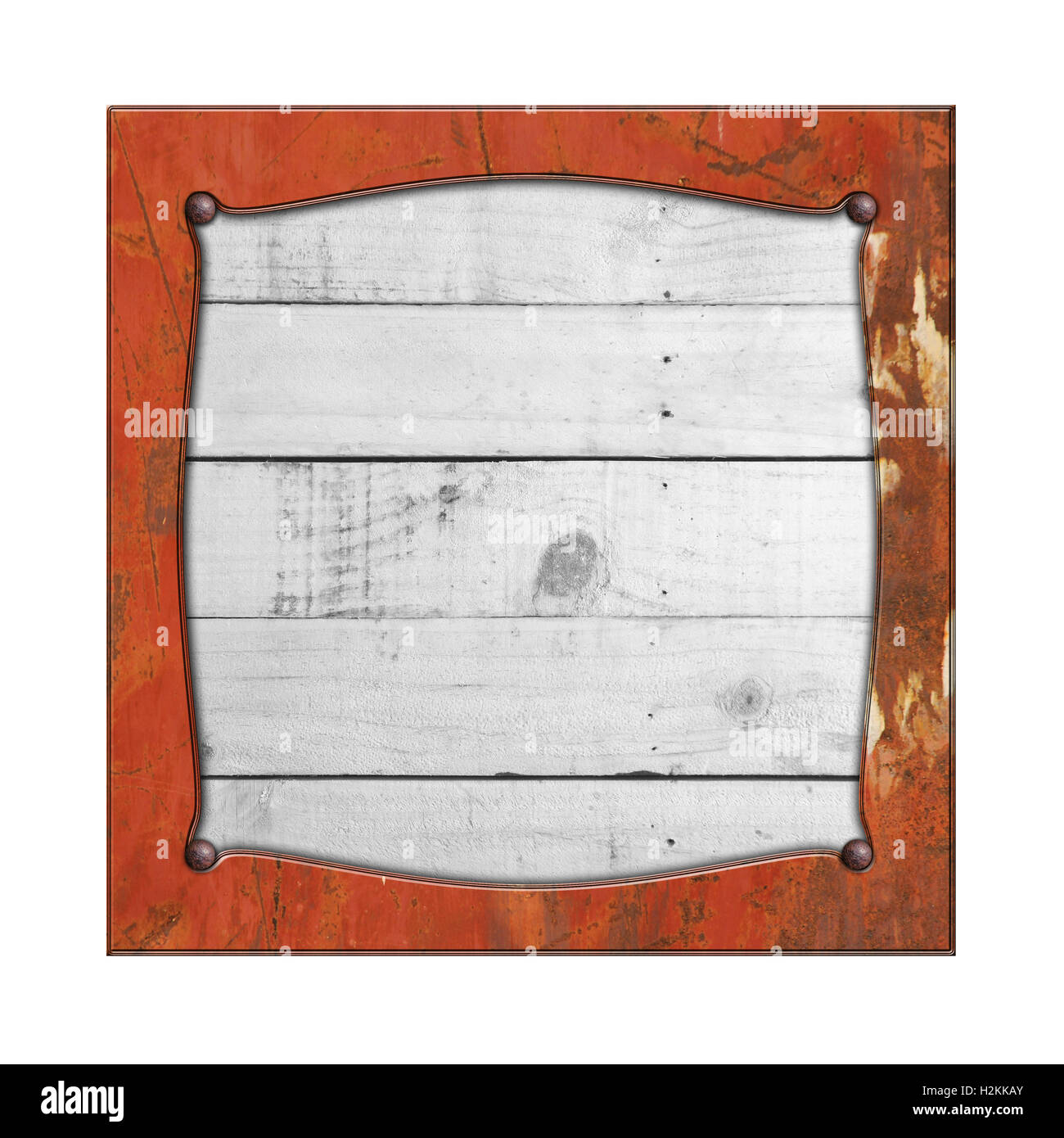 set 8. rusty metal frame on white rustic wood. isolated white Stock ...