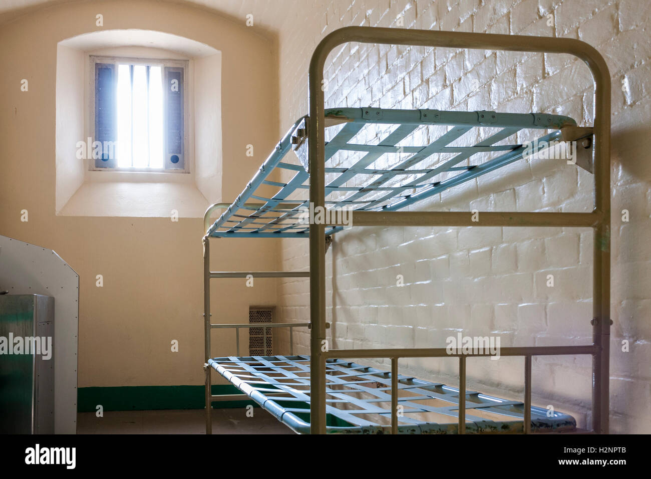 Empty Prison Cell in Reading Prison, Reading, Berkshire, England, GB, UK. Stock Photo