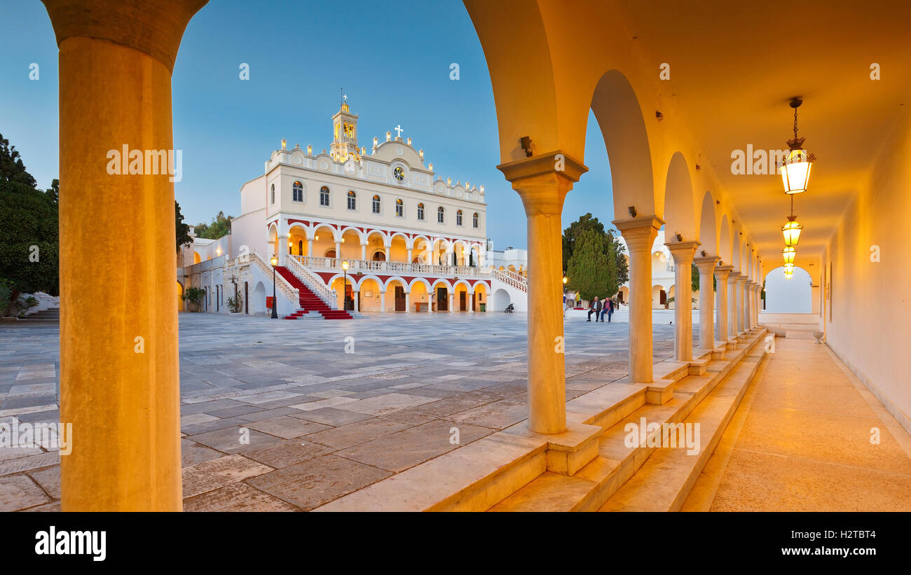 Complex of Panagia Evangelistria church in Tinos town. - Stock Image