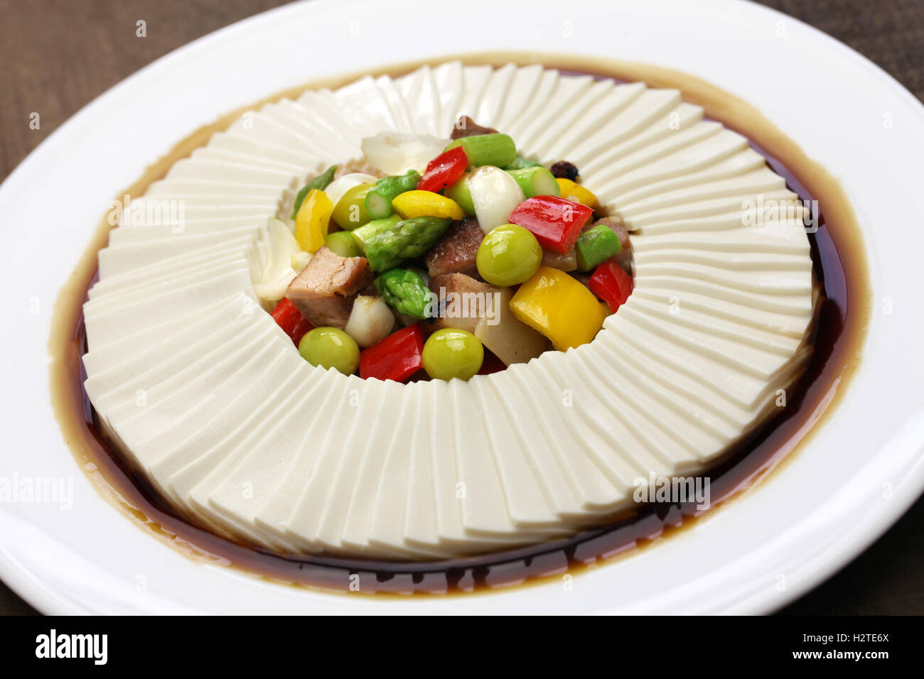 one thousand leaves tofu, chinese bean curd cuisine - Stock Image