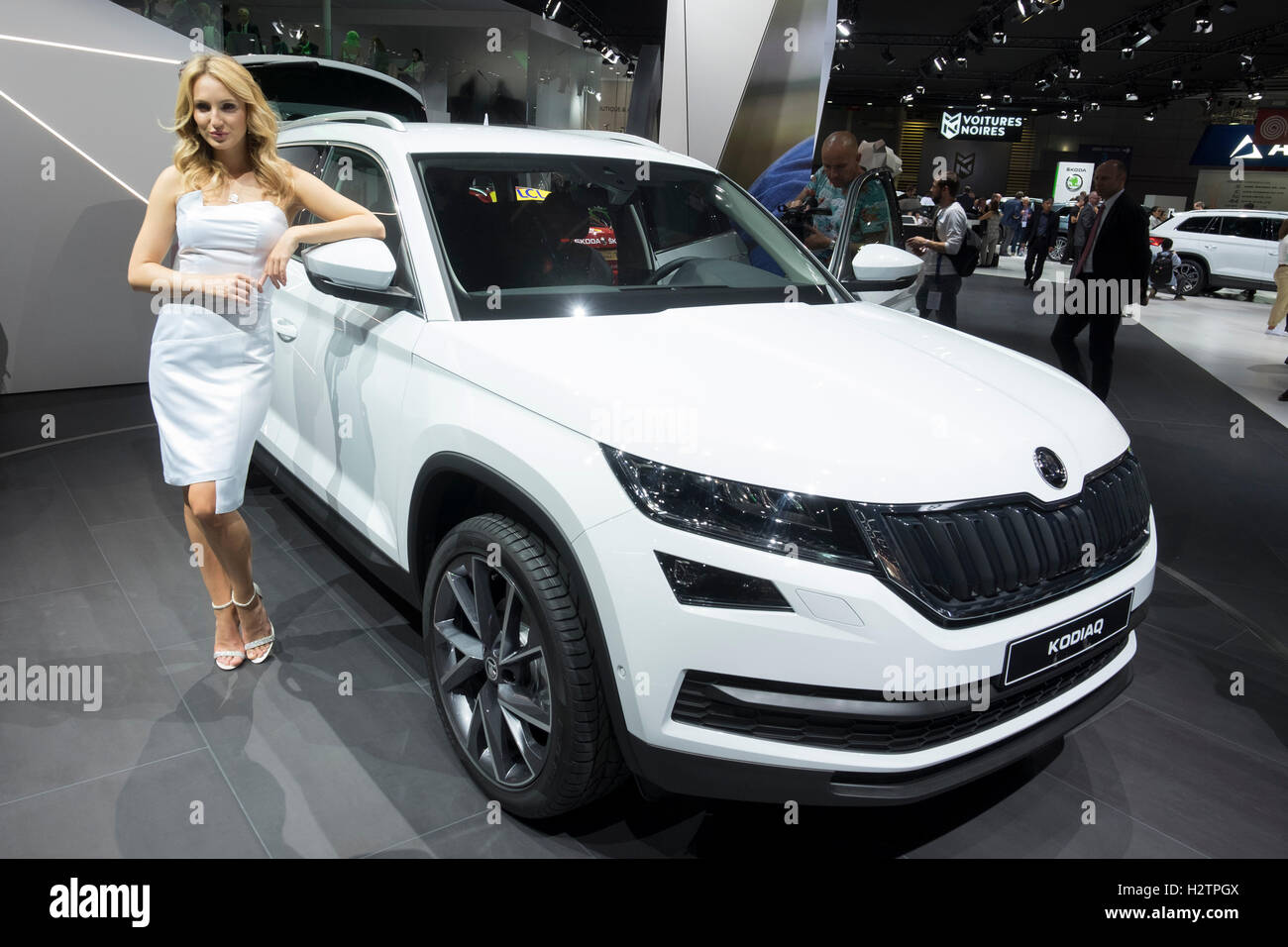 World premiere of Skoda Kodiaq large SUV at Paris Motor Show 2016 - Stock Image