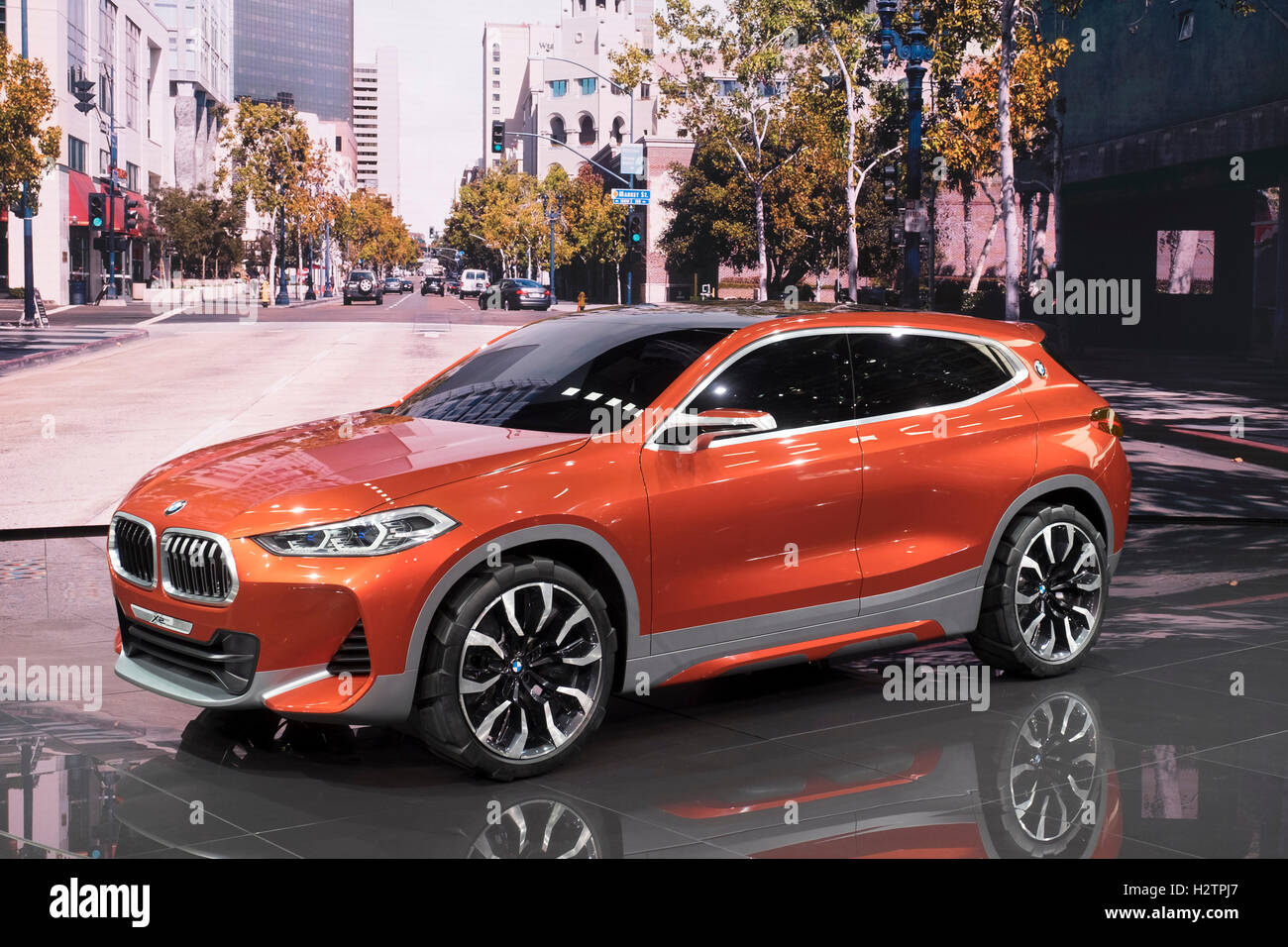 View of world premiere of BMW X2 concept SUV at Paris Motor Show 2016 - Stock Image