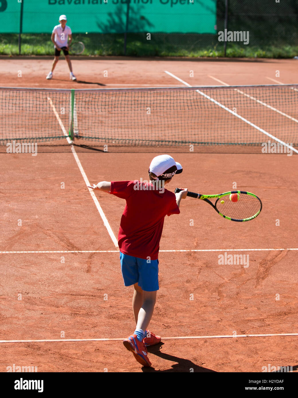 Tennis tournament for children 9-12 years of age - Stock Image