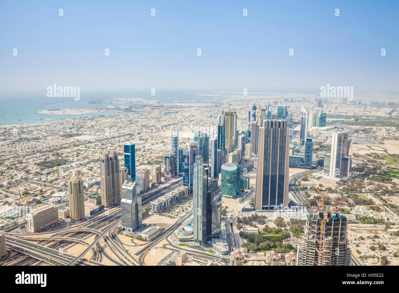 View of Sheikh Zayed Road and Dubai skyline, Dubai City, United Arab Emirates, Middle East - Stock Image