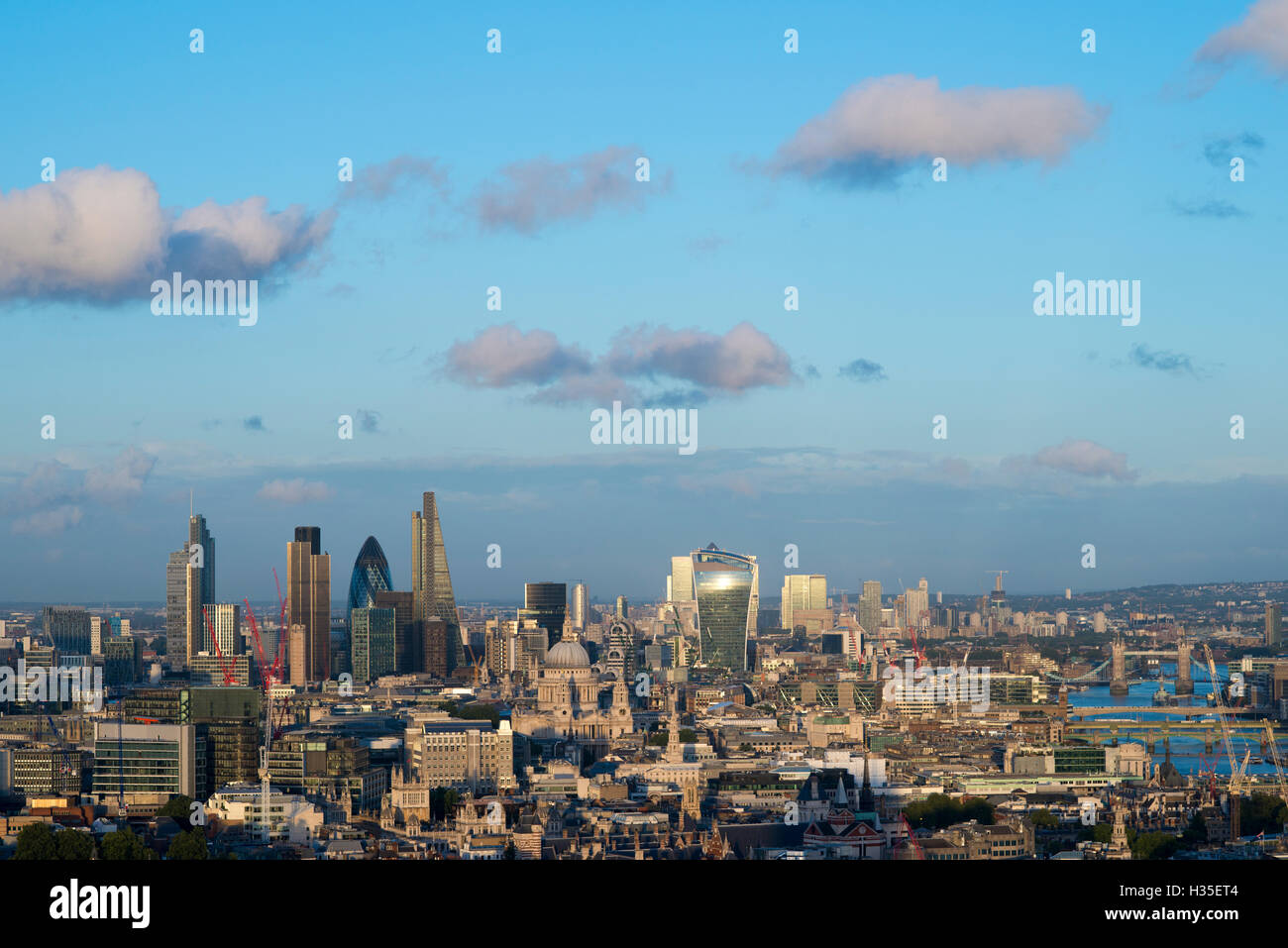Vew of London skyline and the River Thames from the top of Centre Point tower, The Gerkin, Tate Modern, Tower Bridge, - Stock Image