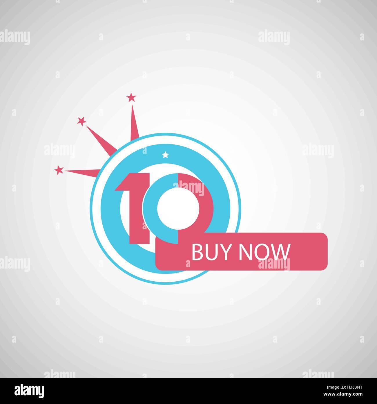 Ten Symbol Years Anniversary Logo Discount Stock Vector Art
