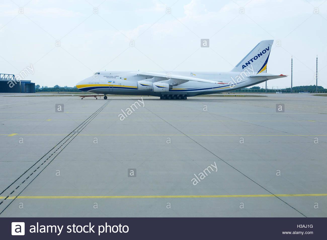 Antonov 124-100 at the Leipzig Airport. - Stock Image
