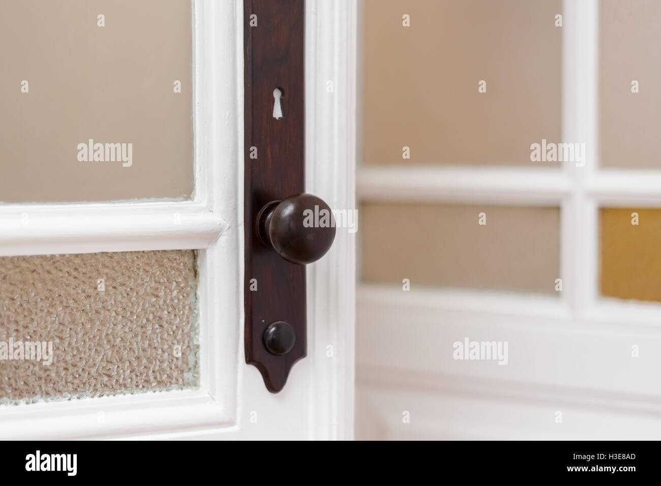 Antique door handle with stained glass frames - Antique Door Handle With Stained Glass Frames Stock Photo: 122630437