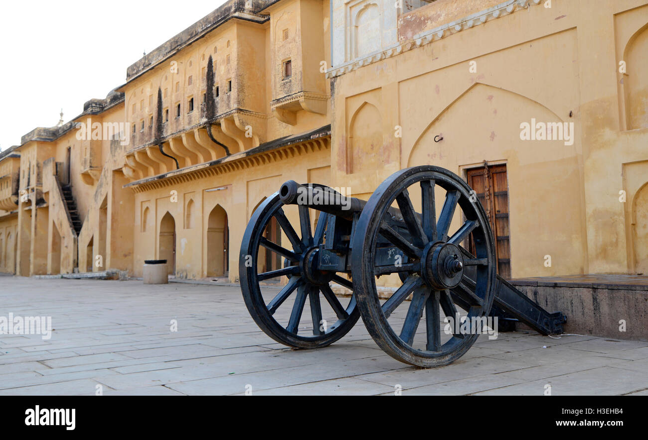 Cannon in Amber Fort,Jaipur,Rajasthan,India - Stock Image