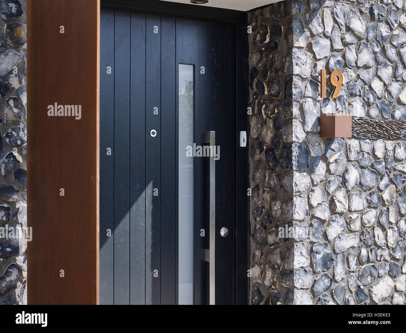 Merveilleux Black Door With Flint And Rusted Corten Steel. House 19, Old Amersham,  United Kingdom. Architect: Jestico + Whiles, 2016.