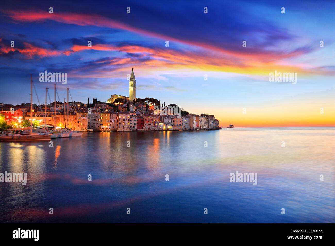 Rovinj small town at sunset in Croatia - Stock Image