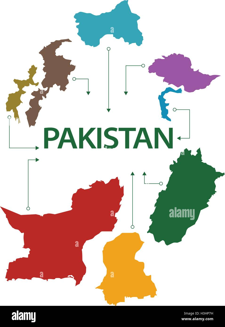 Pakistan Map With All States And Provinces Stock Vector Art - World map with all states