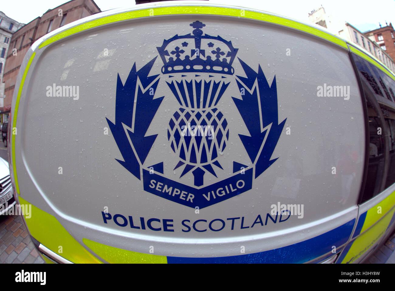 big brother eye police Scotland logos logo on vehicle sides Stock Photo