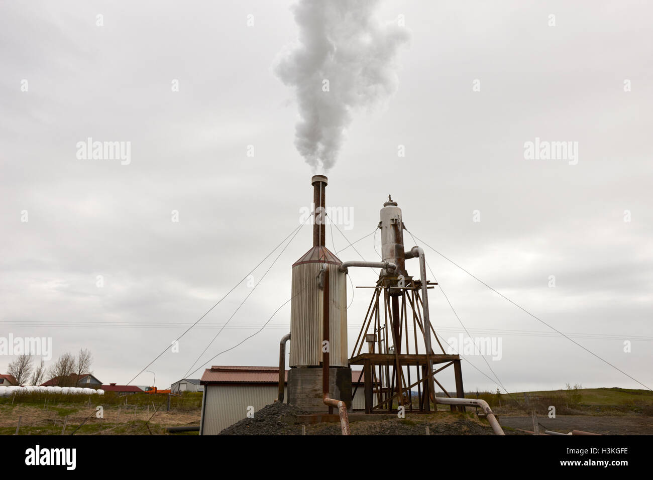 small rural community geothermal energy plant rural southern Iceland - Stock Image
