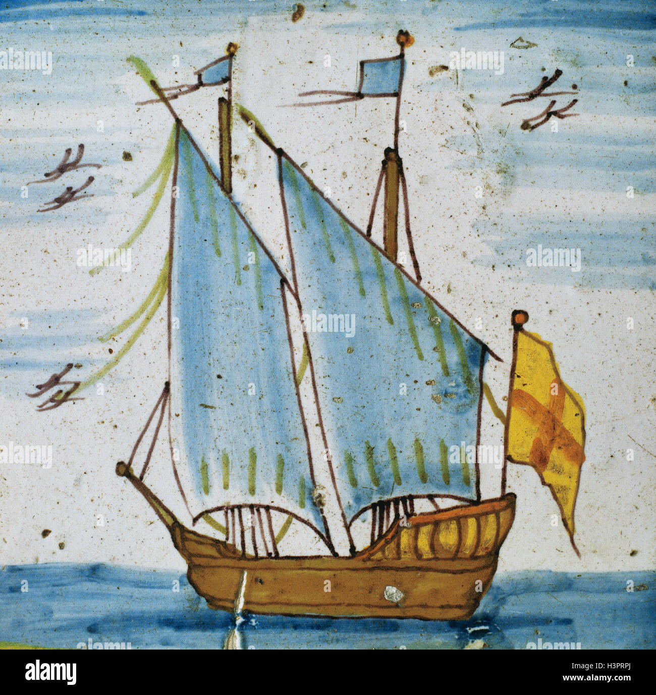 History of navigation tile depicting a two masted sailboat with history of navigation tile depicting a two masted sailboat with unfurled sails and flag at the stern 18th century polychrome catalan ceramic belonging to dailygadgetfo Images