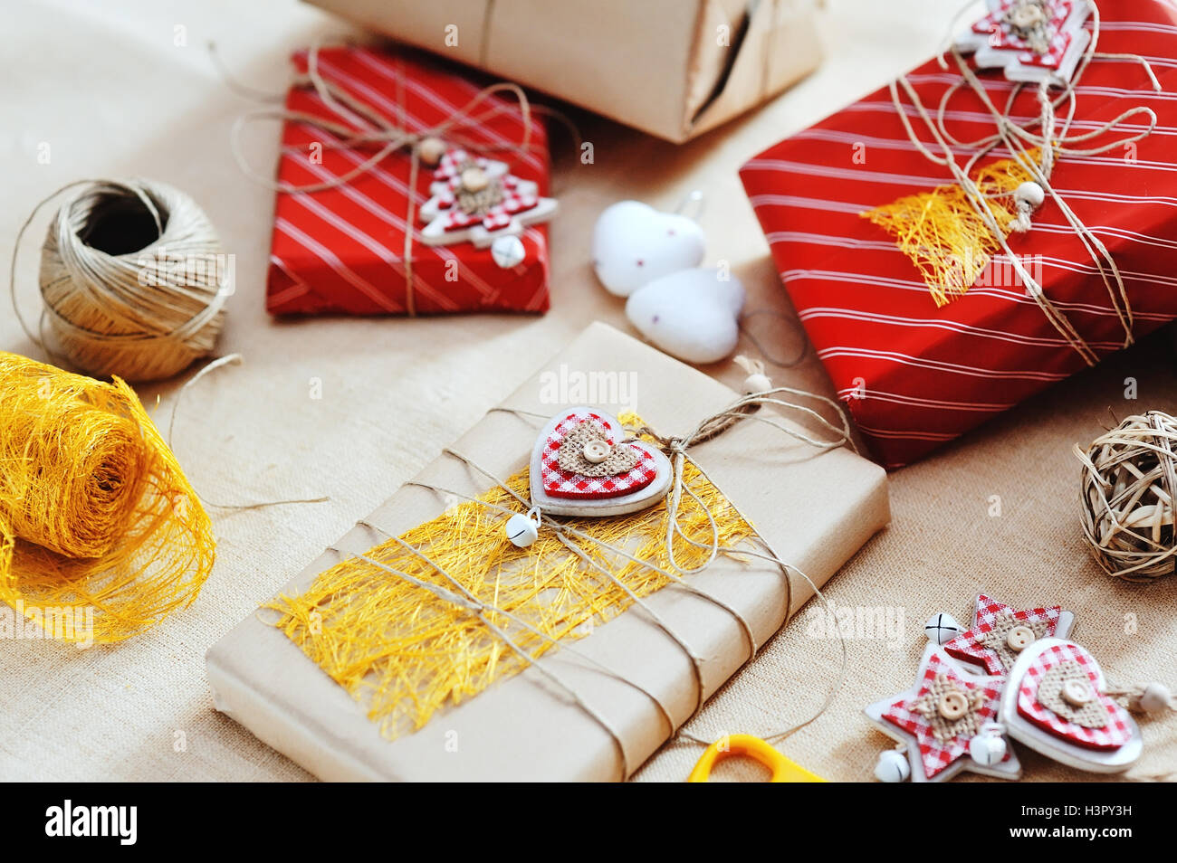 Gift boxes for Christmas and funny tree decorations Stock Photo ...